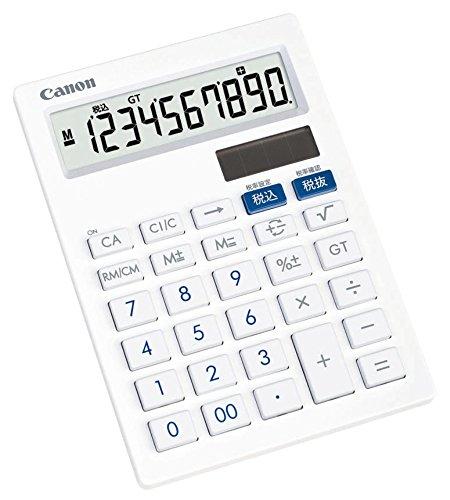キャノン 電卓 10桁 ミニ卓上サイズ 抗菌 キレイ電卓 LS-101T ホワイト