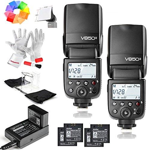 2 Pcs Godox Ving V850II GN60 2.4G HSS 1/8000sリチウムイオン(Li-ion)フラッシュ スピードライト ストロボ 2000mAhリチウムイオン電池付き 色温度:5600K±200K 内蔵GODOX2.4GワイヤレスXシステム 特徴1.5Sリサイクルタイムと650フルパワーポップ【Canon キヤノン/Nikonニコン/Pentaxペンタックス/Olympas オリンパスなど】