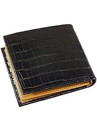 ジョンハリソン クロコ型押し メンズ 二つ折り 短財布 JWT-008-BK ブラック [並行輸入品]