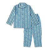 【ノーブランド品】 綿100% 長袖 キッズ パジャマ 春 秋 向け ストライプ柄 ボーイズ 150サイズ ブルー