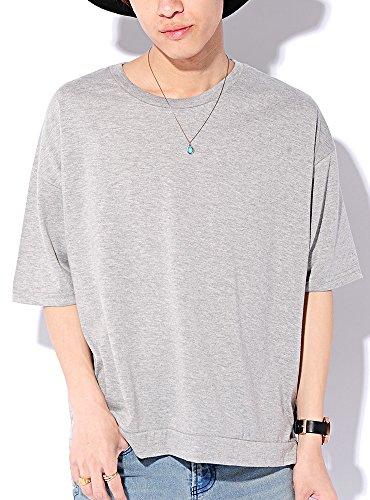 グレー L (ベストマート)BestMart コットン 100% ビッグシルエット 無地 半袖 ゆる Tシャツ メンズ スリット 綿 ゆったり カットソー BIG ビック ワイド クルーネック Uネック ティーシャツ 半そで 半袖Tシャツ 622391-006-101
