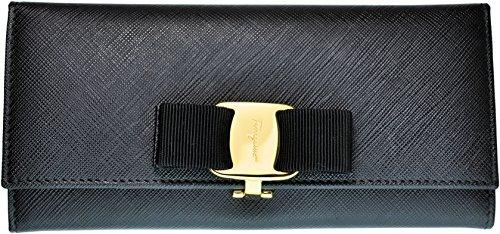 Ferragamo 【フェラガモ】 レザー レディース クリップ開閉式長財布 ヴァラ VARA 22-B559-588260 NERO ブラック 黒