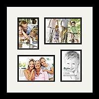 (アートトゥフレームズ)ArtToFrames コラージュフォトフレーム ダブルマット 4 窓 サテンブラックフレーム 2-5x7, 4x6 ホワイト Double-Multimat-301-754/89-FRBW26079