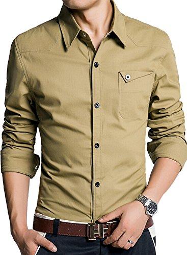 (アザブロ)AZBRO メンズ Yシャツ ストレッチ ツイル スリムシャツ 素晴らしい 純色 パッチポケット 長袖 ボタンアップ シャツ