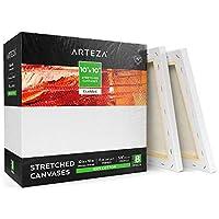 Arteza 10インチ x 10インチ ストレッチ ホワイト 無地 キャンバス バルク (8枚入り) 下塗り済み 100%コットン 絵 アクリル 注ぎ 油絵 ウェットアート メディアに プロのアーティストや趣味の画家や初心者向けキャンバス