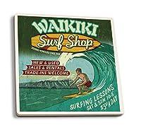 ワイキキ、ハワイ–Surf Shop Vintage Sign 4 Coaster Set LANT-34141-CT