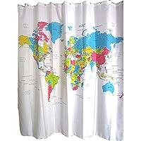 stpkshop Cortina de Chuveiro Mapa Do Mundo Padrão criativo Tecido de poliéster Cortina de Chuveiro Do banheiro ± PROVA D ' Água 72 polegada + 12 Ganchos t31