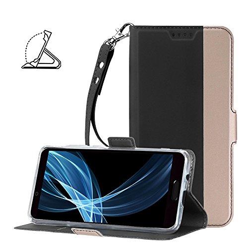 AVIDET SHARP AQUOS sense plus SH-M07 ケース ピンク+ゴールドの組み合わせ 高品質のPUレザー素材 手帳型 ストラップ付き 防水・防塵・耐衝撃対応 (Android One X4 ケース ブラック)