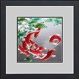 King Silk Art 100% Handmade Embroidery Framed Nine Red Japanese Koi & Lotus Water Lily Oriental Wall Hanging Art Asian Decora