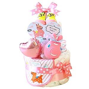 ベビーアルテ Rody ロディ OSM スタイ ぺちゃ付き 2段 おむつケーキ 【おむつ:パンパースSサイズ】ピンク