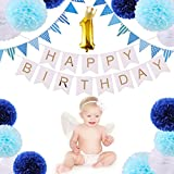 CCINEE 1歳 誕生日飾りセット バースデーデコレーションセット 装飾 ペーパーフラワー フラッグガーランド バースデーパーティ..