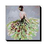 Asmork 人物 抽象画 絵画 壁掛け 装飾 手書き 油彩 油絵 モダンアート いスカートを着ている女 (30*30cm) (Green)