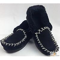 Moccasins 100% Sheepskin Slippers Winter Casual Genuine Slip On