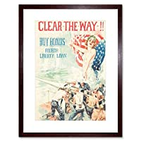 Propaganda War Bonds Liberty America USA Clear The Way Framed Wall Art Print 宣伝戦争自由アメリカアメリカ合衆国壁