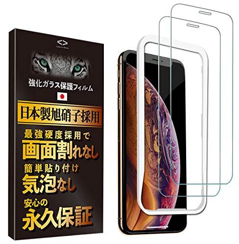 【永久保証 2枚】Less is More iPhone Xs MAX ガラスフィルム 貼り付けガイド枠付き 最高硬度9H 防指紋 気泡なし 日本製 TM-9003