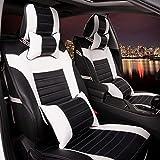 (ファーストクラス)FirstClass シートクッション エアバッグホール付き フロント リア PUカーシートカバー 縫いあがり 黒い&白い 通用 10pcs