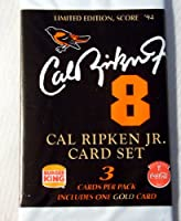 Cal Ripken Jr 3カードセットFresh Factory sealed 1994パック。分散by Burger King and Coca Cola。Rare。ゴールドカードIncluded in Eachパック。