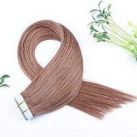 FidgetGear Remyの人間の毛髪延長7A 40cmの継ぎ目が無いPUの皮のよこ糸の方法16インチテープ #06ダークチョコレートブラウン