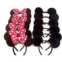 24 Minnie Mickey Mouse Ears Headbands Black Disney Red Polka Dot Bow Birthday