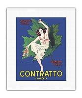 契約カネッリ - ベルモットの勝者 - 白ベルモット - イタリアの酒 - ビンテージな広告ポスター によって作成された リオネト・カピエロ c.1925 - キャンバスアート - 28cm x 36cm キャンバスアート(ロール)