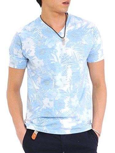 (スペイド) SPADE Tシャツ メンズ 半袖 総柄 花柄 ボーダー Vネック リゾート 【e153】 (M, サックス)