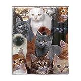 マキク(MAKIKU) シャワーカーテン おしゃれ 防カビ リング付属 猫柄 動物 バスカーテン ユニットバス 浴室 脱衣所 取付簡単 150x180
