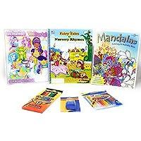 カラーリングブックアクティビティセットキッズ用、Fairies Mandalas Enchanted Teaパーティー、6点バンドル