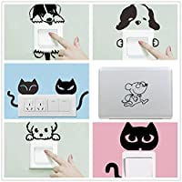 可愛い漫画 リムーバブル6個 ネコ犬動物光スイッチステッカー 壁画 動物の壁のステッカー家の装飾 (6 個 動物)