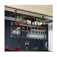 逆さまのホームゴブレットラックヨーロッパ鉄ワイングラスラックバーワインラックワインキャビネット装飾ハンガー装飾(色:青銅、サイズ:60 * 25 cm)