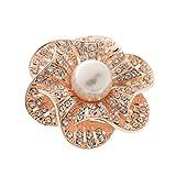 【ノーブランド品】ローズゴールド 女性 ラインストーンの花 スカーフバックル リングクリップ ジュエリー ブローチ