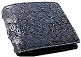 金運ゲット!蛇革パイソンレザー短財布 [ REDCROW ] 誕生日プレゼント メンズ財布 (黒)