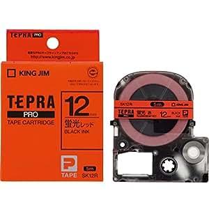 キングジム テープカートリッジ テプラPRO SK12R 12mm 蛍光 レッドラベル