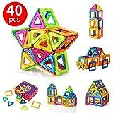 FlyCreat 磁石ブロック マグ・フォーマー マグネット マグネットブロック 磁気おもちゃピタゴラスおもちゃ 磁石おもちゃ マグネットパズル 磁気ブロック 立体マグネット マグネッおもちゃ 磁石パズル3D立体パズル DIY磁気積み木 知育玩具 学習玩具 想像力と創造力を育てる ビルディング積み木 三角形24個 正方形16個 オモチャ 積み木男の子 図形 組み立て 女の子 贈り物 誕生日プレゼント 子ども 出産祝い 入園 クリスマスプレゼント 玩具 創意プレゼント ギフト 40ピース (磁石ブロック)