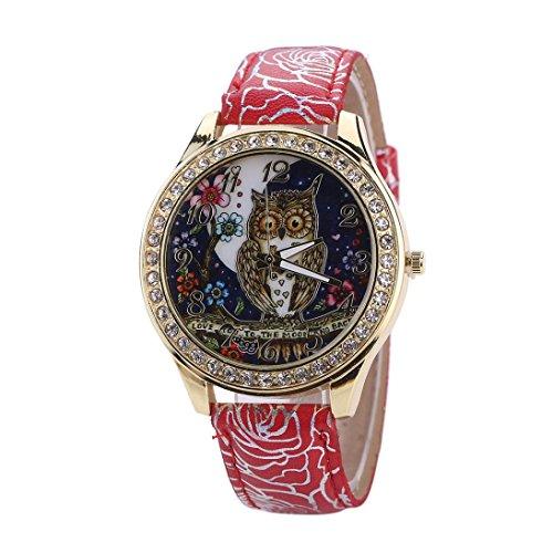 フクロウ 男女 おしゃれ 8色 腕時計 ...