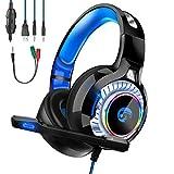 Sound-b ゲーミング ヘッドセット 軽量 PS4ヘッドホン 高音質 密閉型 マイク付き サラウンド ゲーム用 PC 3.5mm LED 伸縮可能 パソコン 有線 PS4/ PC/Mac/Switch/スマホに対応 LED 男女兼用