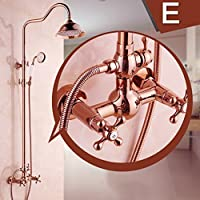 LJ ローズゴールドヨーロッパスタイルのシャワーセットフル銅の蛇口は、シャワーヘッドを持ち上げることができます ( サイズ さいず : E )