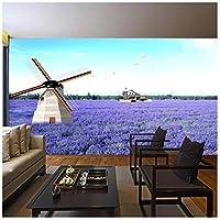 Mingld ラベンダー風車自然風景ヴィンテージ3Dルーム写真の壁紙用3Dリビングルーム壁紙プリントキッズウォール壁画ロール-120X100Cm