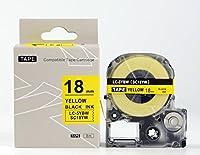 キングジム テプラPro用 互換 テープカートリッジ SC18YW(SC18Yの強粘着) 18mm 黄地黒文字