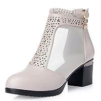 [HR株式会社]ファッション ショート ブーツ レディースシューズ 太めヒールサンダル ラウンドトゥ 透かし彫り 靴 春夏 通気 防滑 身長アップ 歩きやすい 女性用 大きい サイズ22.5cm-26.5cm ベージュ25.5センチ