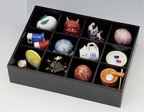 縁起物の置物 四季の置き物 松花堂四季飾り 磁器 木箱