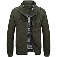 MAGE MALE Men's Military Windbreaker Jacket Cotton Bomber Stand Collar Coat
