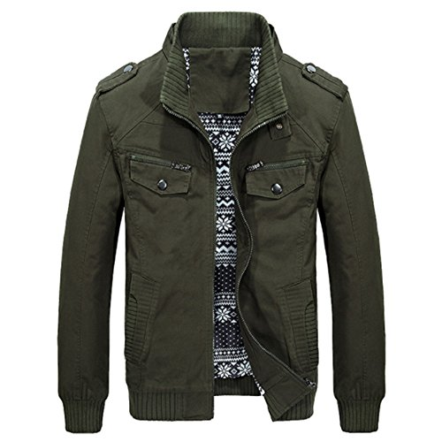 MAGE MALE Men's Military Windbreaker Jacket Cotton Bomber Stand Collar Coat Medium Army Green