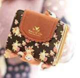 ( Ribon Box ) ガーリー お財布 二つ折り コンパクト 小花柄 コインケース 女の子 レディース (黒)