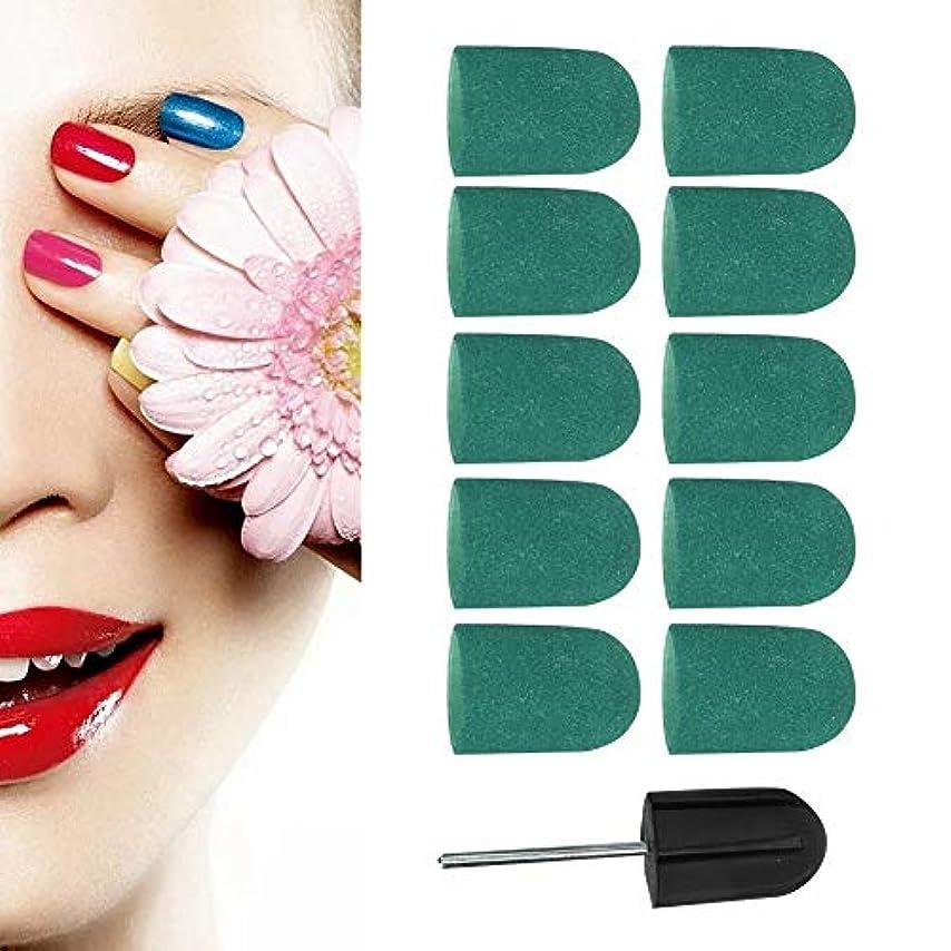 誘導ポップ反毒ネイルポリッシュヘッド、ネイルアートサンディングバンドネイルポリッシュ研磨ヘッドサンディングリングキャップ16 x 25mm(緑)