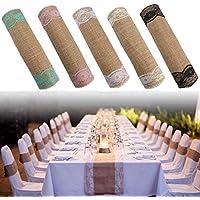 クインウィンド 5色ジュート素朴な麻布レーステーブルランナーのウェディングパーティーの宴会の装飾 - 象牙