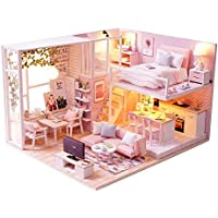 Toolbit DIYドールハウスミニチュアキット&玩具、3d木製人形House家具with LEDライト、1 : 24スケールハンドメイド人形House forクリエイティブ誕生日ギフトand More