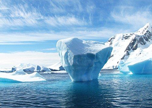 絵画風 壁紙ポスター (はがせるシール式) 南極の氷山 氷 流氷 氷河 南極大陸 涼しい 癒し 暑気払い キャラクロ SICE-001A1 (A1版 830mm×585mm) 建築用壁紙+耐候性塗料