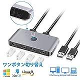 USB2.0切替器/スイッチセレクタ、2台のコンピュータ6ポートUSB 2.0周辺機器共有スイッチハブアダプタ、キーボード、マウス、Uディスク、プリンタ、KVM 1秒スイッチャーUSB2.0、Mac/Windows/Linux対応