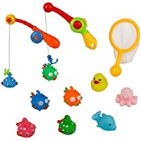 Bath Toys Fishing Game with Cute Fish Fishing Pole Net Duck Octopus Dolphin Toy Set Best Gifts bathtub toys for Kids Girls Boys toddlers(Random Color) [並行輸入品]