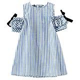 Cutelove 子供ドレス ワンピース 女の子 ストライプ 可愛い 麻綿 夏 半袖 ベビー ドレス 素敵 おしゃれ